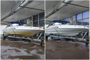 Яхта до и после очистки корпуса и днища